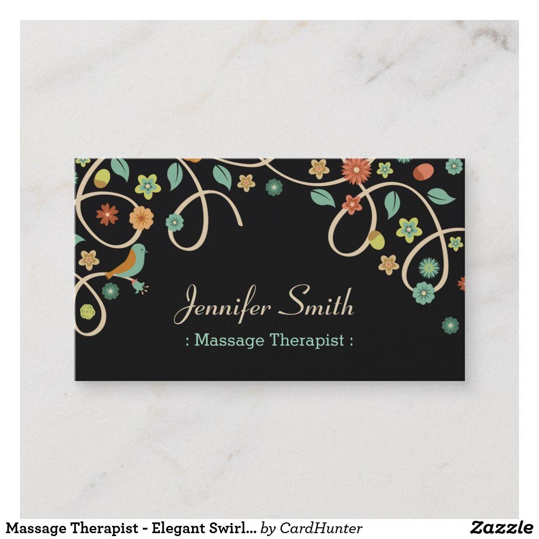 Massage Therapist - Elegant Swirl Floral Business Card ...