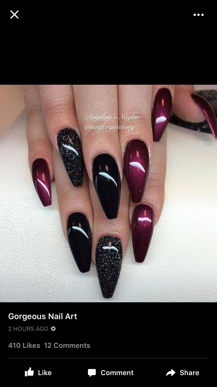 Deep reds and blacks | Nail ideas | Pinterest | Nageldesign ...