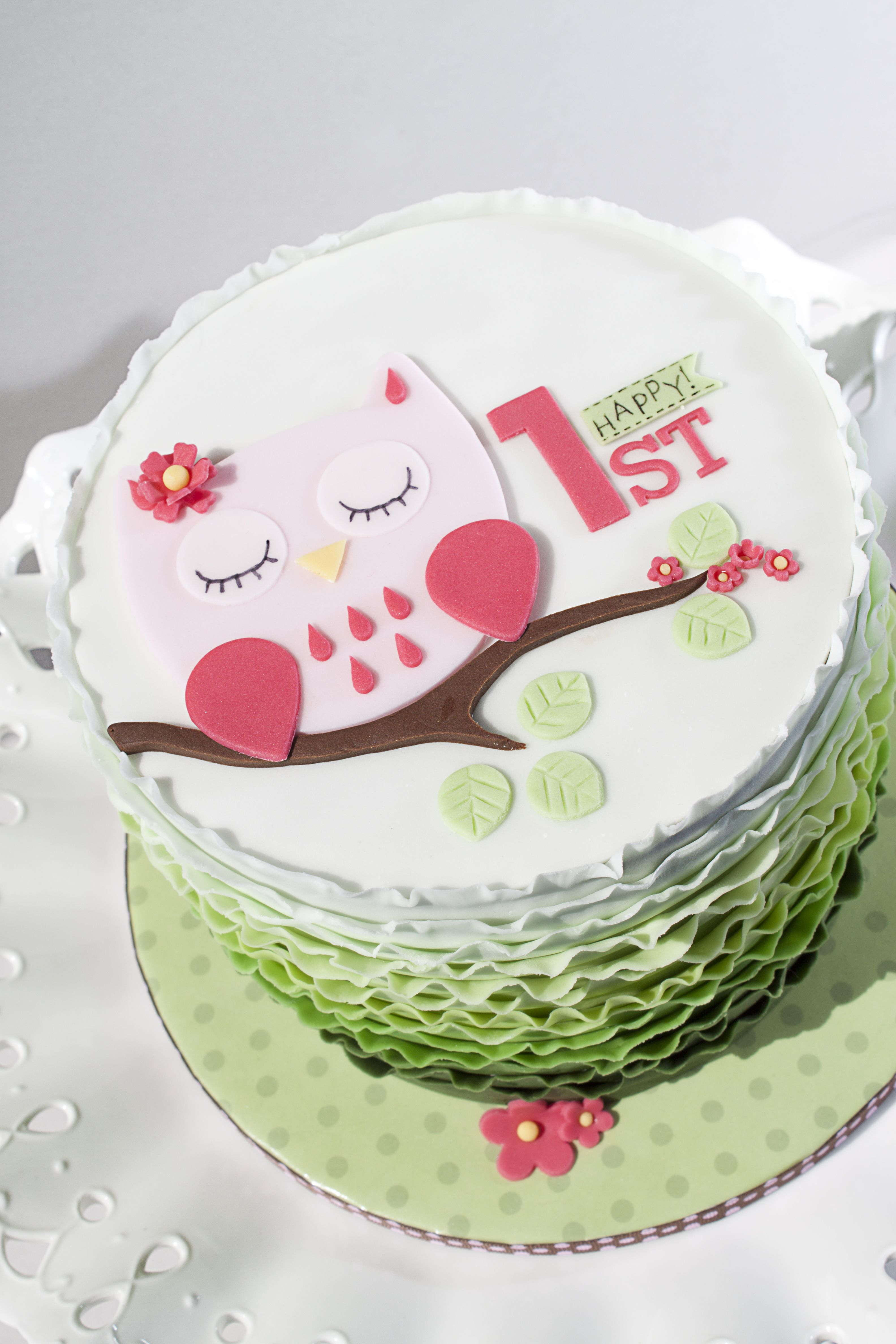 Ombre Ruffle Owl Cake Girls cake Pinterest Owl cakes Cake