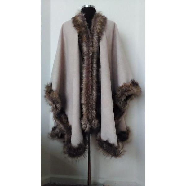 New Fashion Luxury Wool Blend Poncho in Faux Fox Fur Beige Long Women... ($225) ❤ liked on Polyvore featuring outerwear