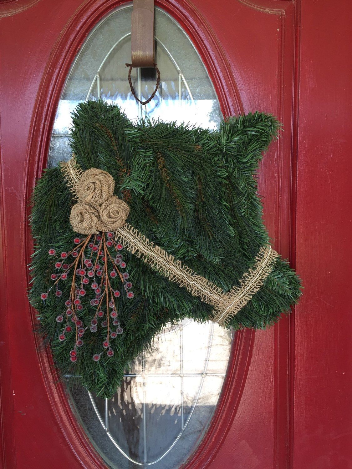 Frosted Berry Cow Wreath With Burlap Wreaths Wreaths