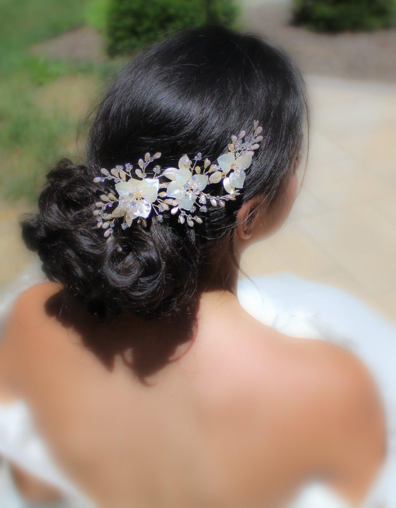 Gold Bridal Hair Comb Leaf