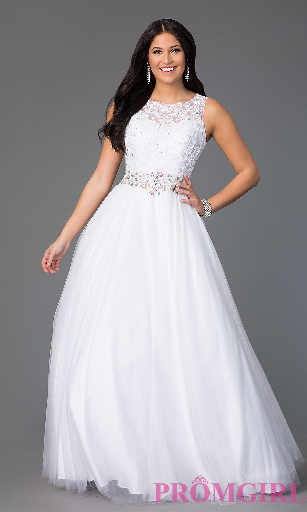 Floor length sleeveless gown with lace bodice lace bodice