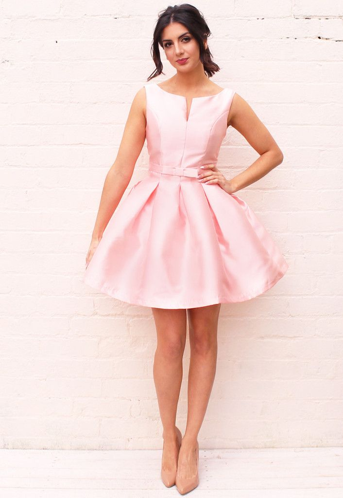 02fe7a2046e Structured Satin Jackie O Fit   Flare Pleated Skirt Dress in Baby Pink -  One Nation Clothing - One Nation Clothing - 1