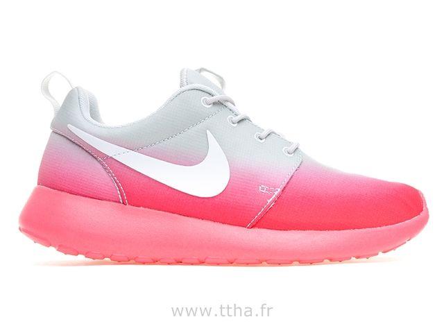 Nike Femme Roshe Run Imprimer Grau / Rose Basket Roshe Run Femme