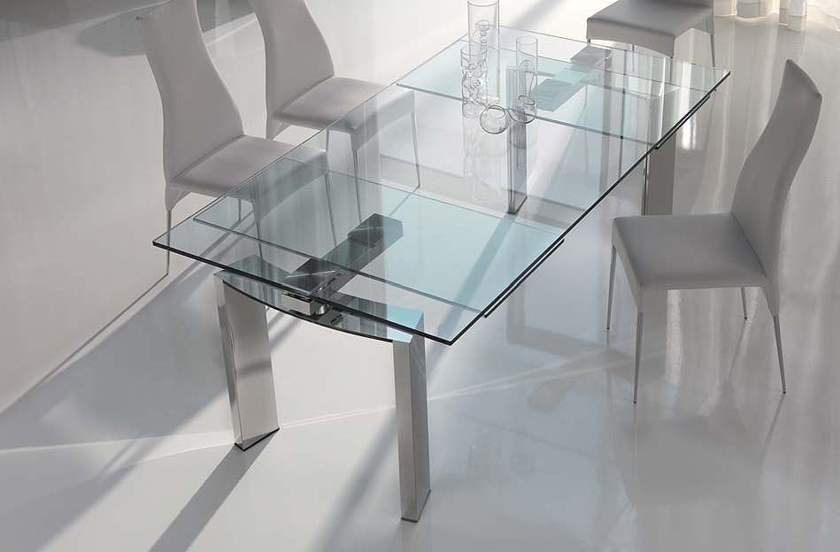 Classic Modern Glass Dining Room Tables In Dinning Room With