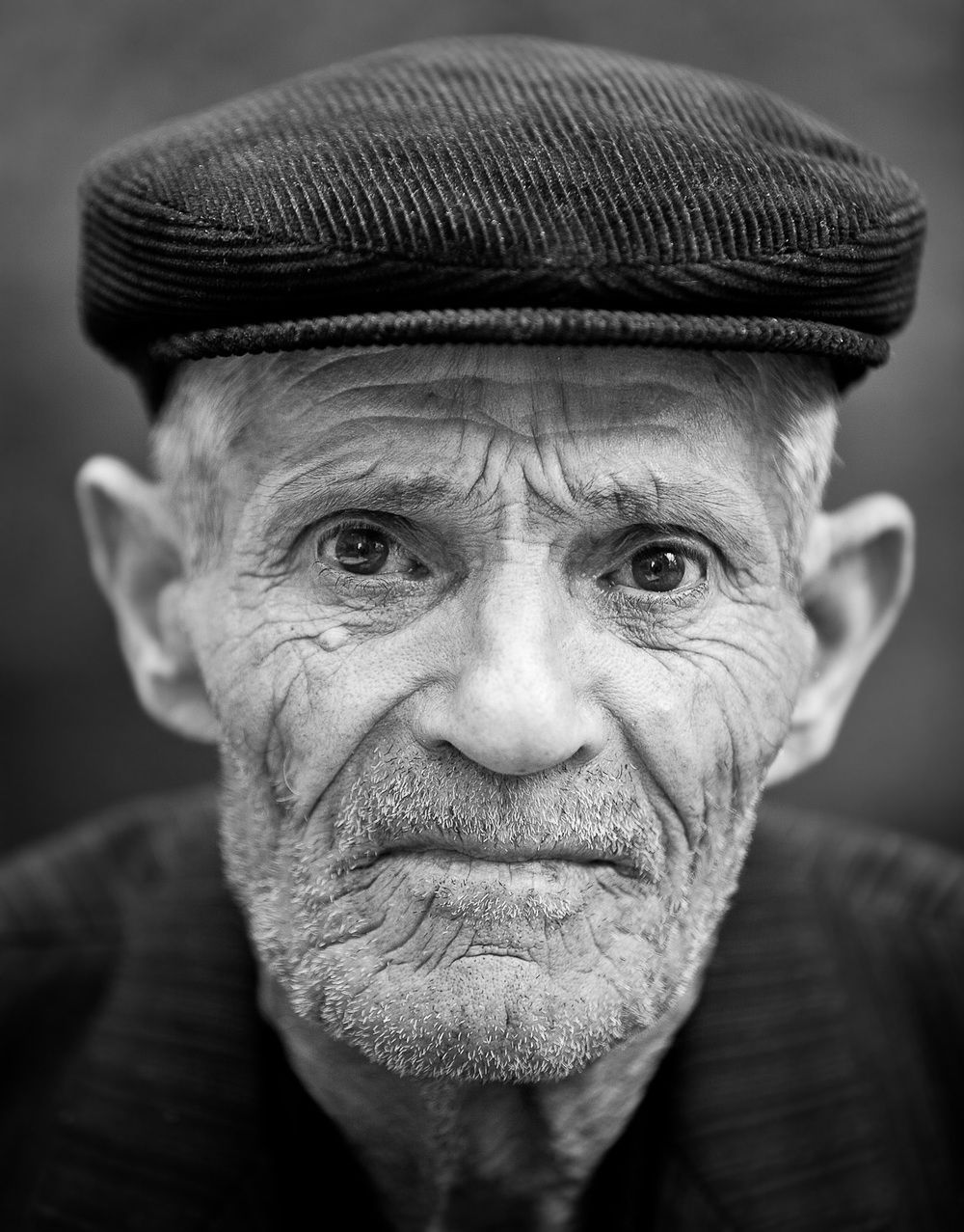 Black And White Photo Of Old Man
