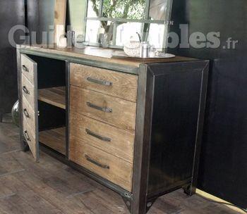 bahut bois acier style atelier catalogue guidemeublesfr - Meuble De Rangement Salle A Manger