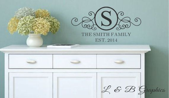 Family Wall Decal Circle Family Monogram With Est DateVinyl - Custom vinyl wall decals circles