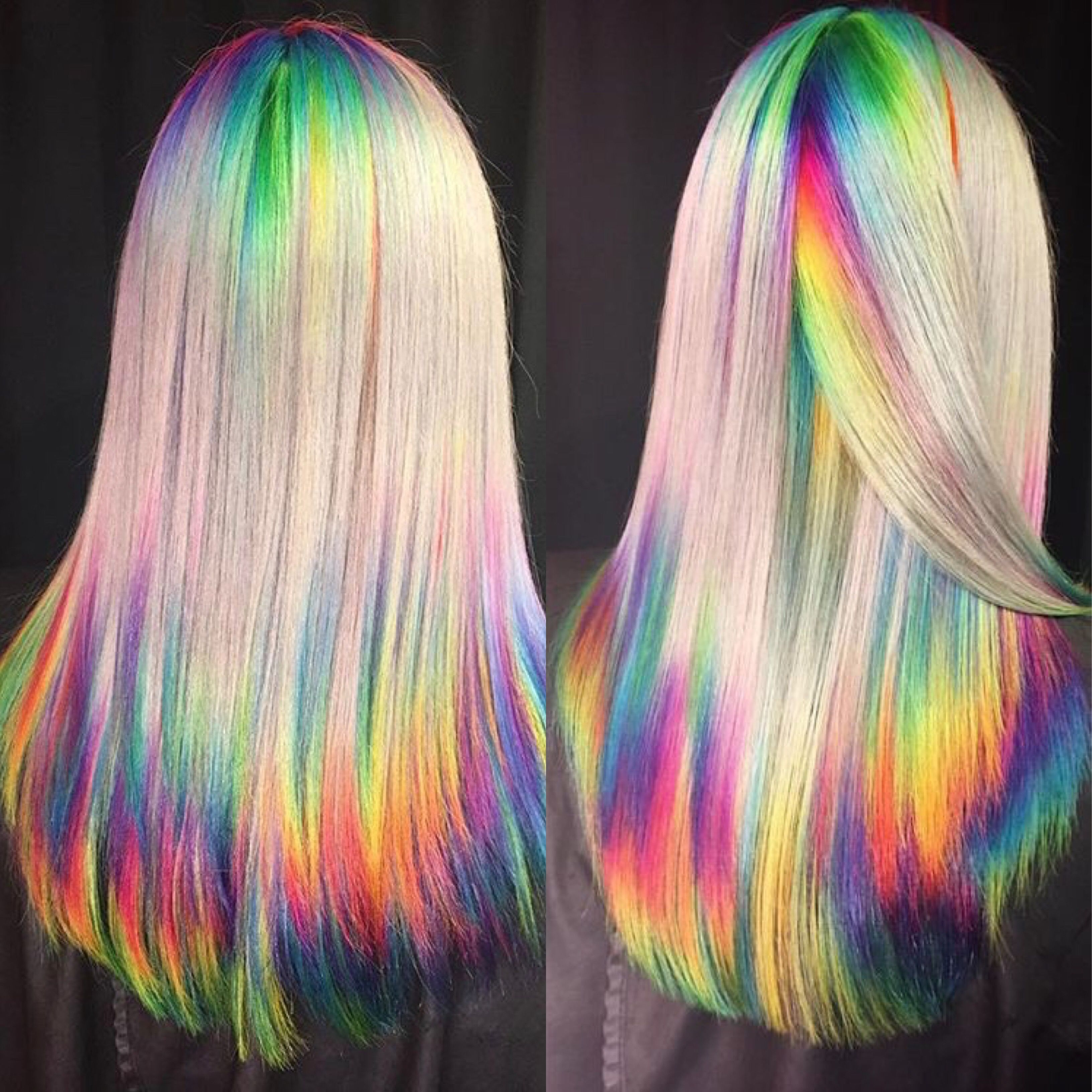 gorgeous shimmer rainbow effect on vanilla hi-lift blonde
