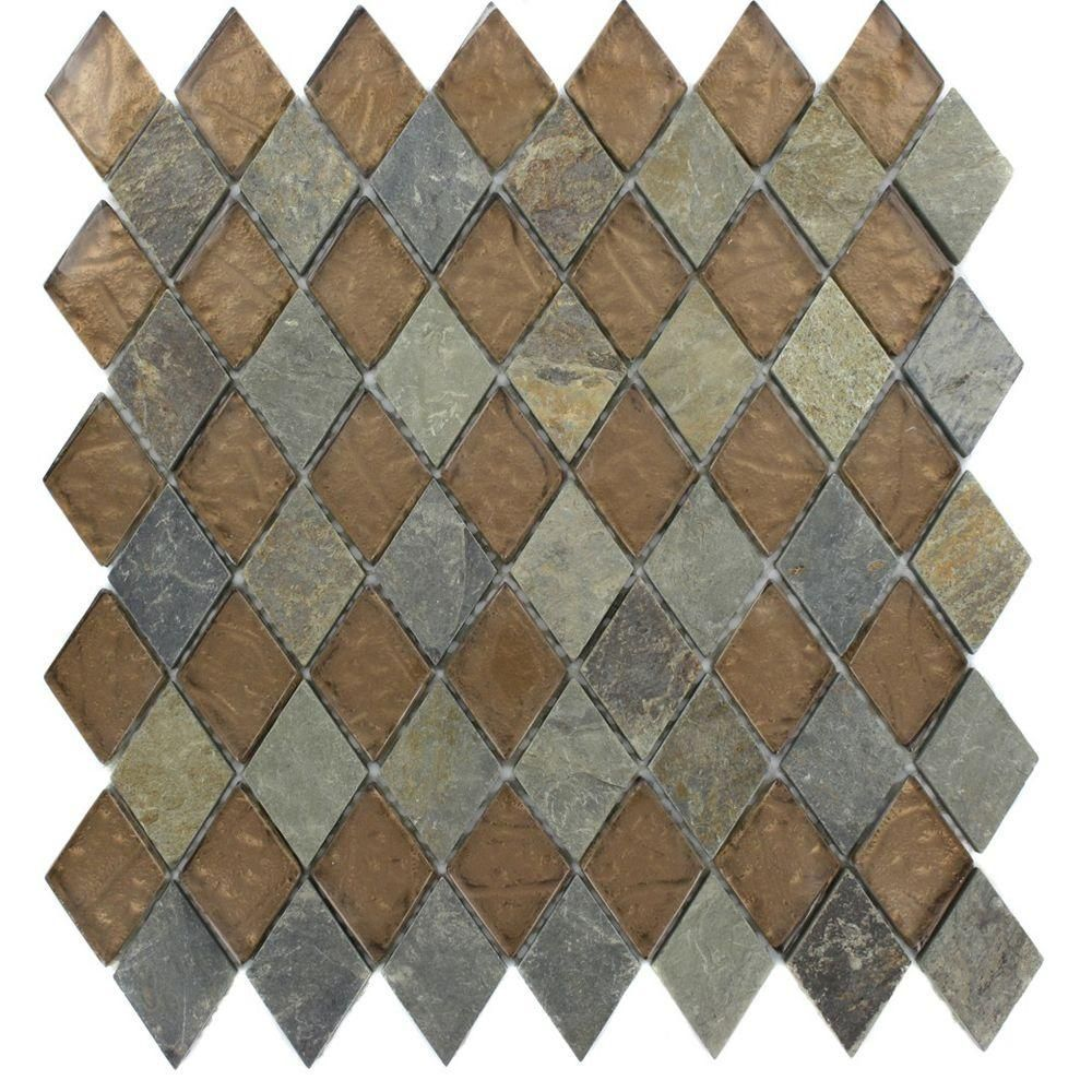 Splashback Tile Tectonic Diamond Multicolor Slate and Bronze 11 in. x 12 in. x 8 mm Glass Floor and Wall Tile-TECTONIC DIAMONDMULTICOLORSLATEBRONZE2X3 - The Home Depot