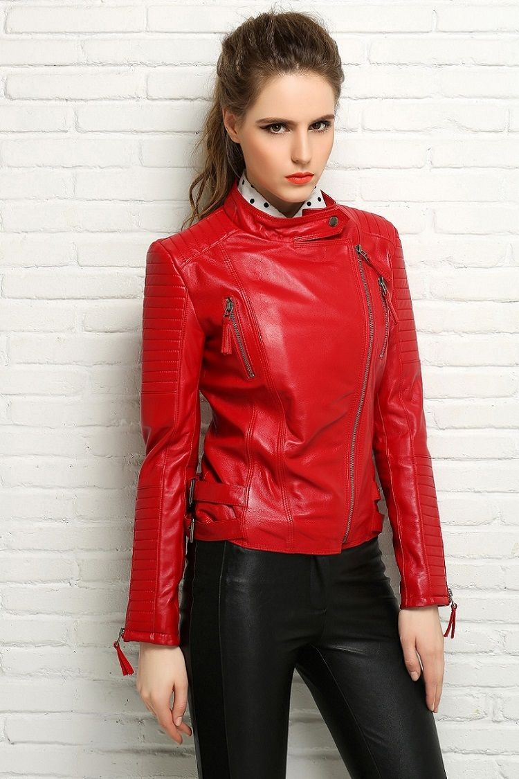 Red Leather Coat Womens