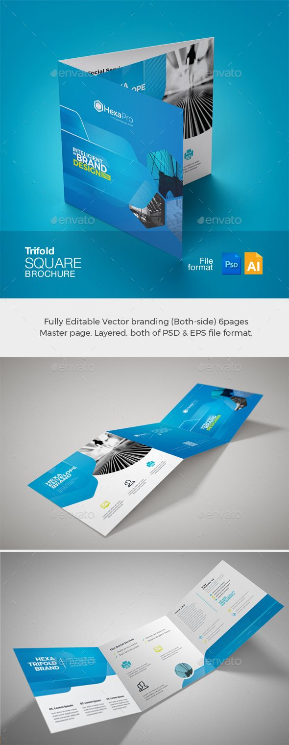 Book Cover Vector Design Psd ~ Corporate business square trifold brochure template psd vector