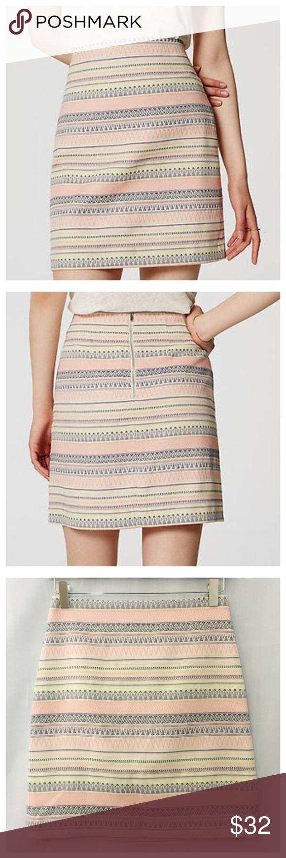 a63493e371 Ann Taylor Loft Jacquard Stripe Pink Pencil Skirt Ann Taylor Loft Jacquard  Stripe Pink Pencil Skirt