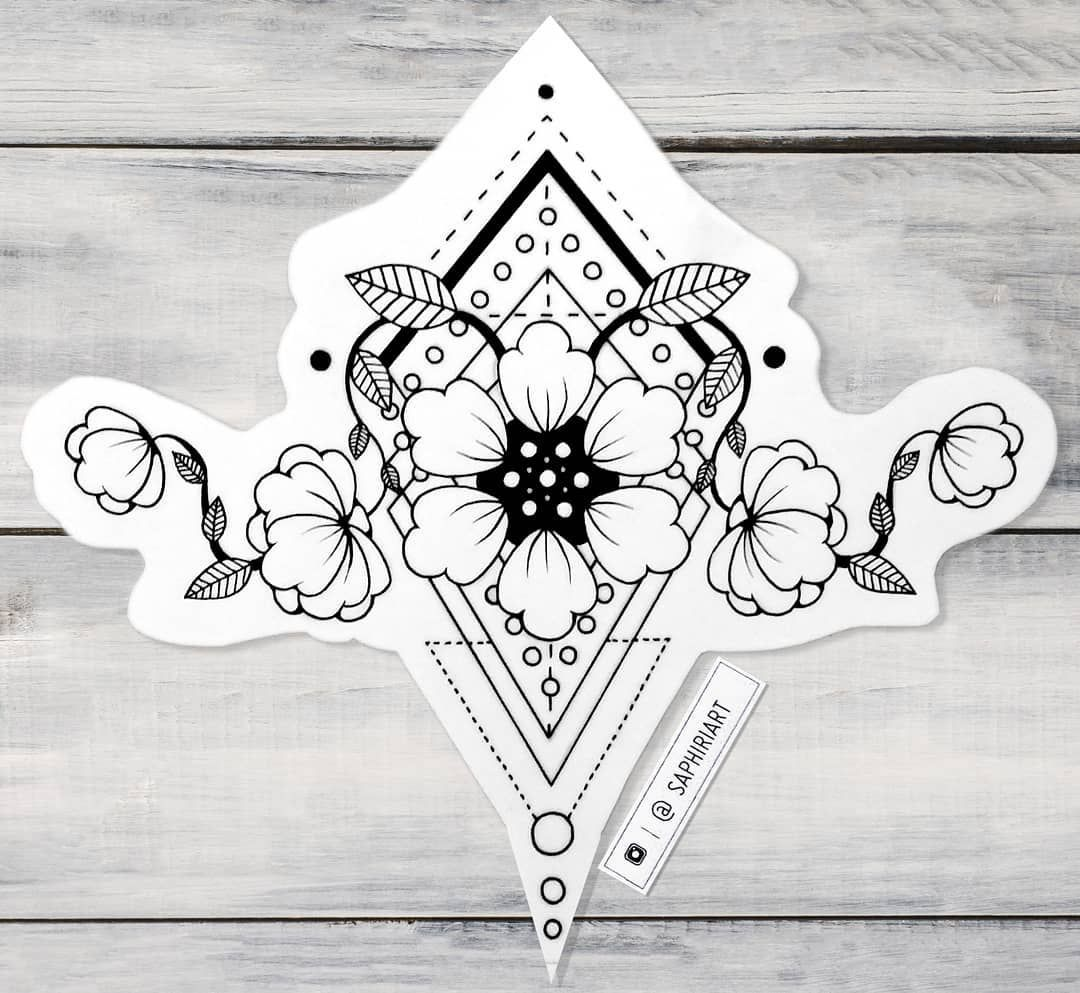Geometrical flower tattoo design drawn by saphiriart on instagram