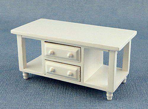 Puppenhaus Miniatur Wohnzimmer Möbel Modern Weiß Fernsehen Tv