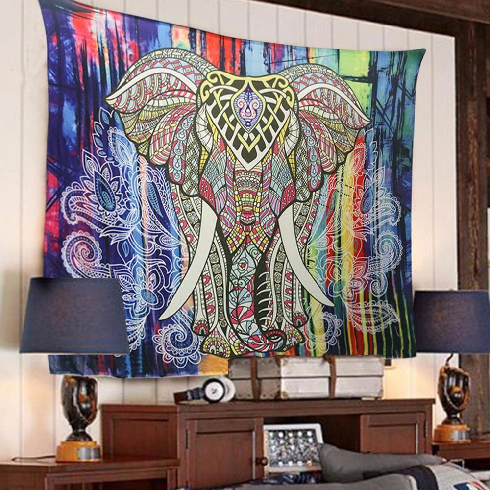 Ielephantタペストリー着色プリント装飾曼荼羅タペストリーインド130センチ× 150センチ150センチ× 210センチ自由奔放に生きる壁カーペットタペストリー