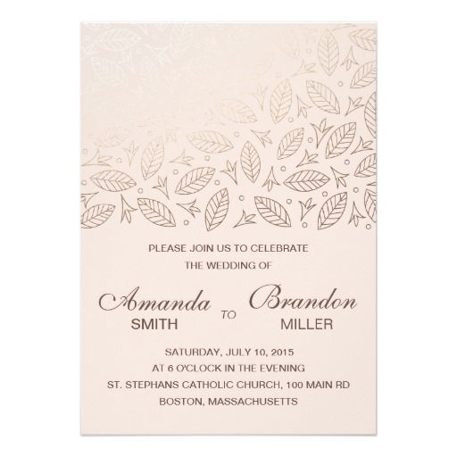 "Scattered Leaves Faux Foil Wedding Invitation-Rose 5"" X 7"" Invitation Card"