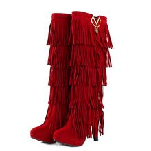 Us 30 94 Hot Big Size 34 43womens Suede Tall Boots High Heels Platform Sweet Knee High Red Moccasin Boots With Fringe Dress And Heels Fashion Tassels Fashion