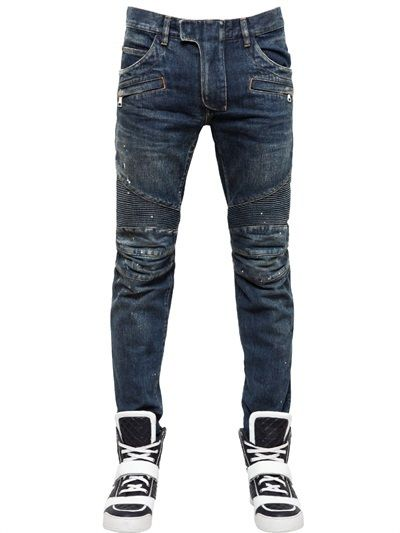 0121ce59 $1,800, Navy Skinny Jeans: Balmain 18cm Washedpainted Cotton Denim Jeans.  Sold by LUISAVIAROMA.