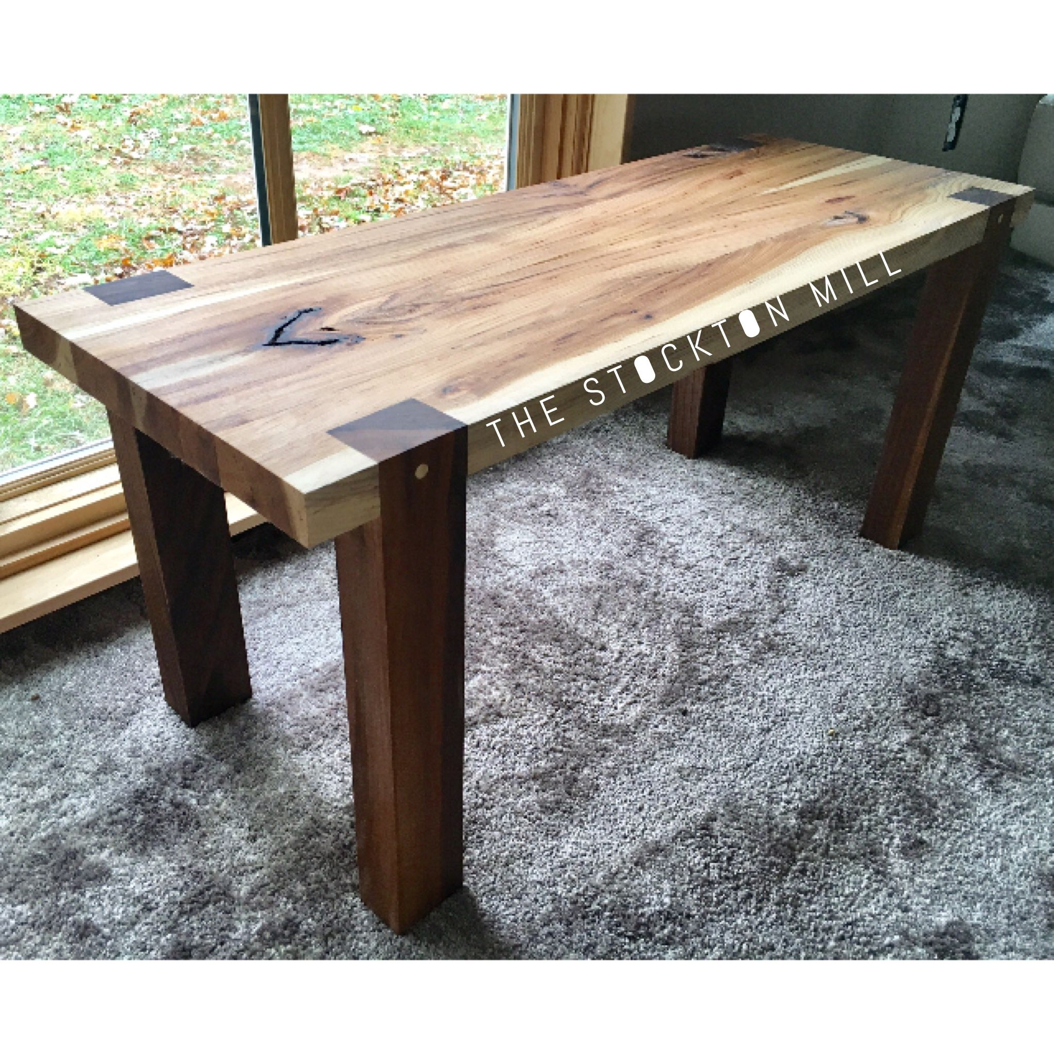 Handmade Hickory Slab And Walnut Bench