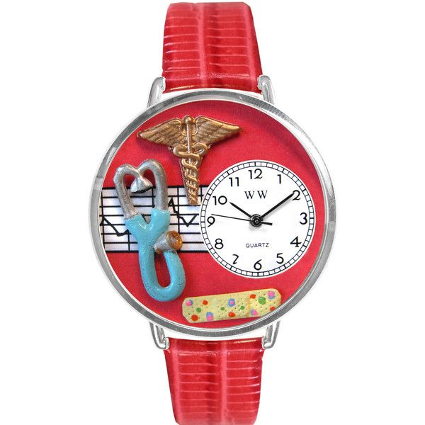 Whimsical Watches Personalized Nurse Womens Silver-Tone Bezel Red... ($50) ❤ liked on Polyvore featuring jewelry, watches, whimsical watches, buckle jewelry, leather jewelry, buckle watches and silvertone jewelry