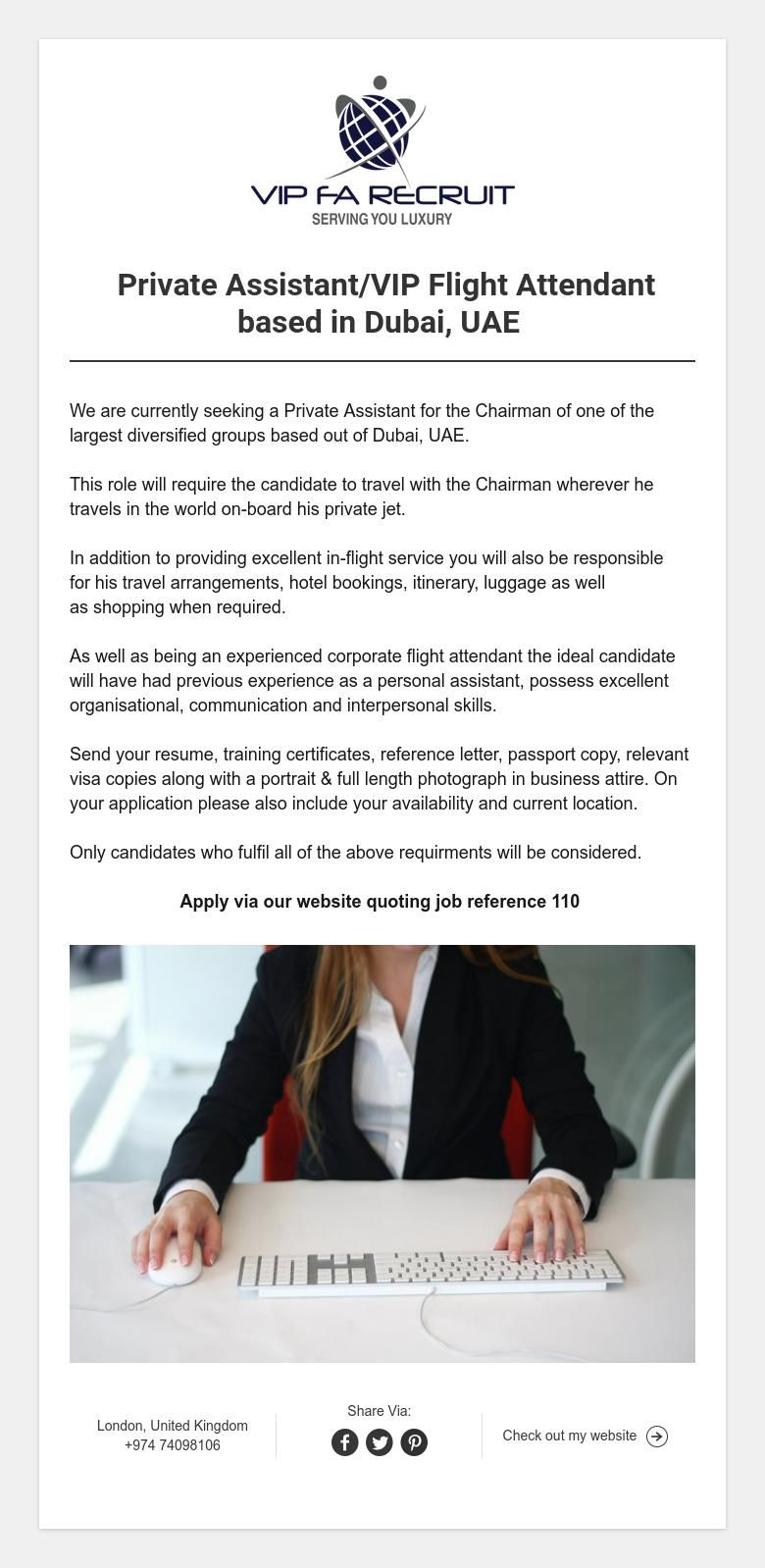 Private Assistant Vip Flight Attendant Based In Dubai Uae Flight Attendant Job Reference Dubai