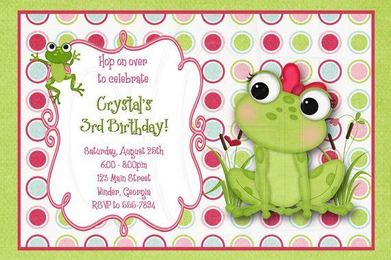 Frog Invitation Birthday Baby Shower