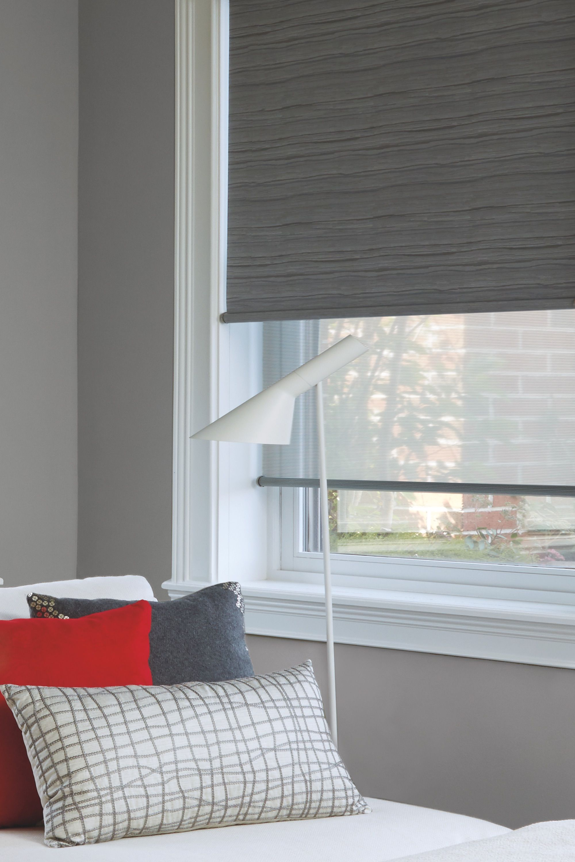If You Love The View Through Of Screen Shades But Want Privacy At Night A Dual Roller Shade From Hu Roller Shades Living Room Shades Blinds Living Room Shades