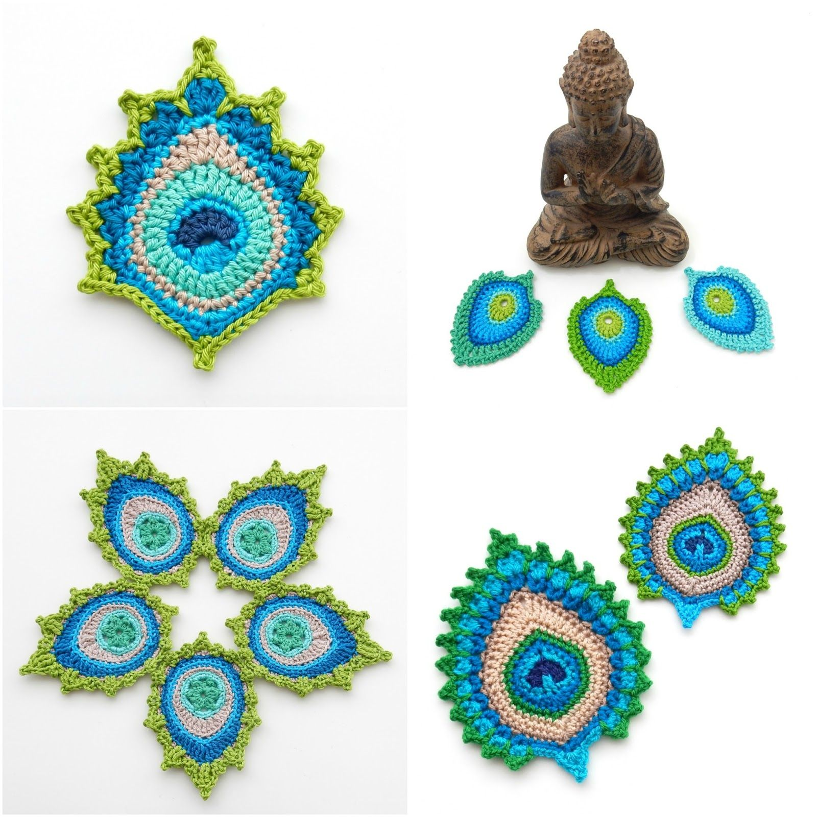 Crochet peacock feather designs by TheCurioCraftsRoom   crochet ...