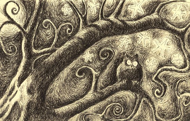 the owl looks really freaked out.  love the swirly tree!