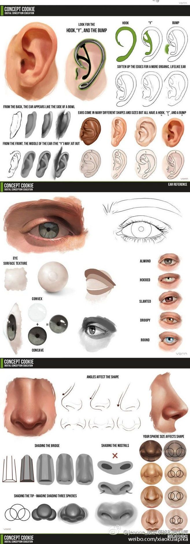 Onderdelen van gezicht, op verschillende manieren getekend.   ART ...