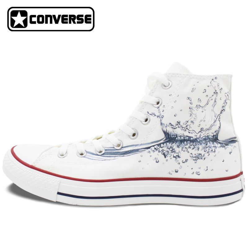 34e3301053a9 2017 Water Drop Original Design High Top White Converse All Star Custom  Hand Painted Shoes Canvas