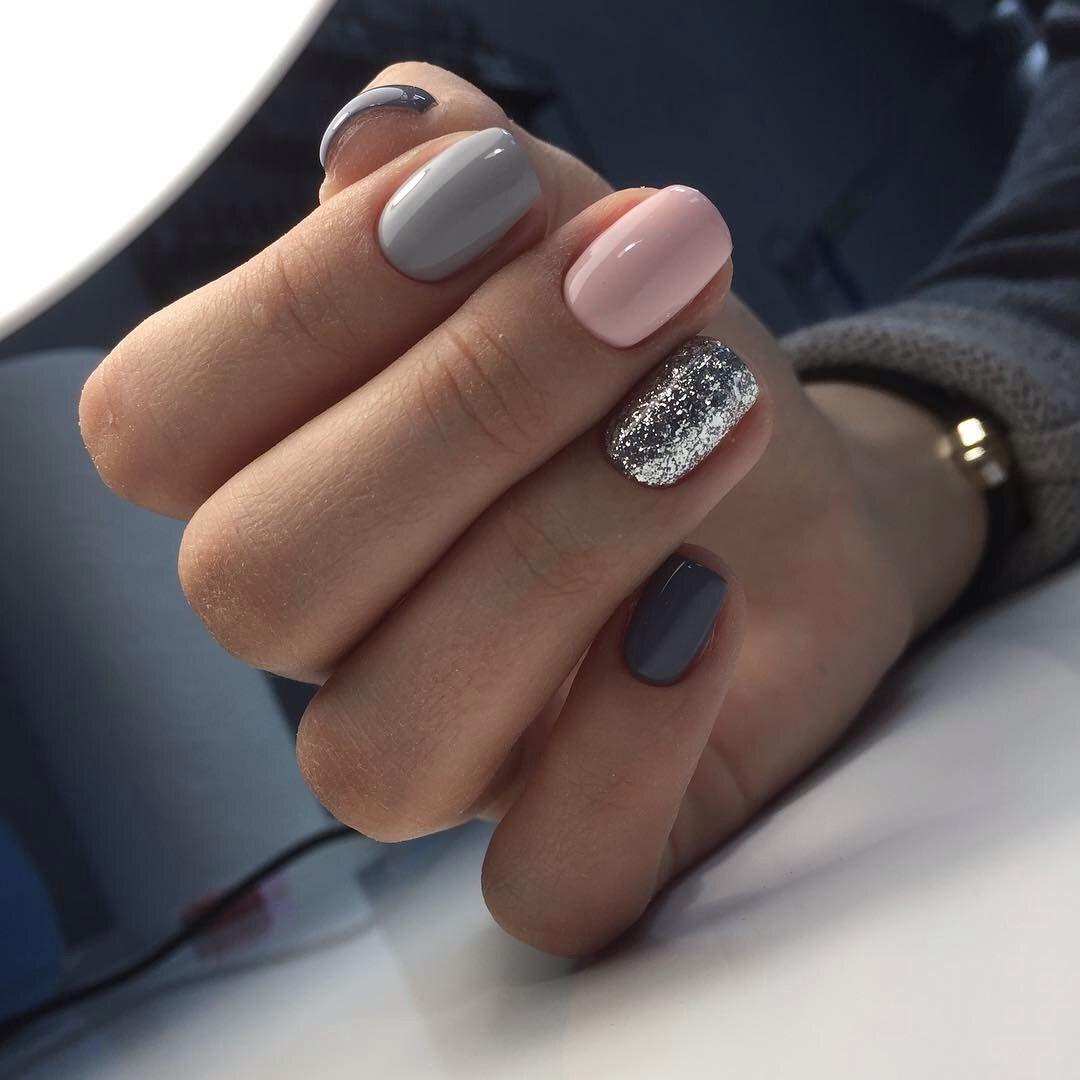 Grey And Pink Nails Gorgeous Nails Pink Nails Trendy Nails