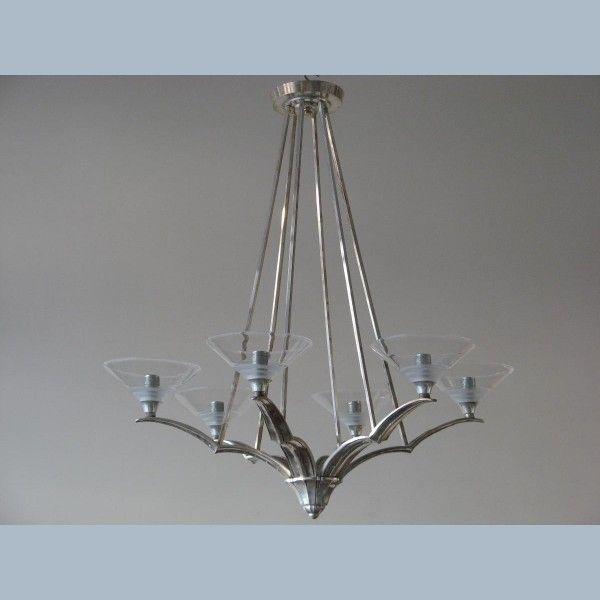 Lamp 6 arm verzilverd Frans Art Deco jaren 30