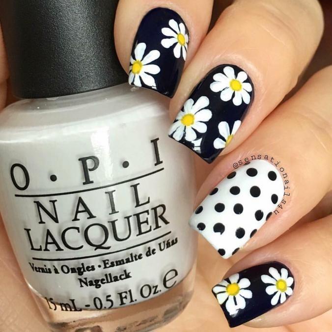 Flower nail art | Polka Dots nail art | Pinterest | Flower nail art ...