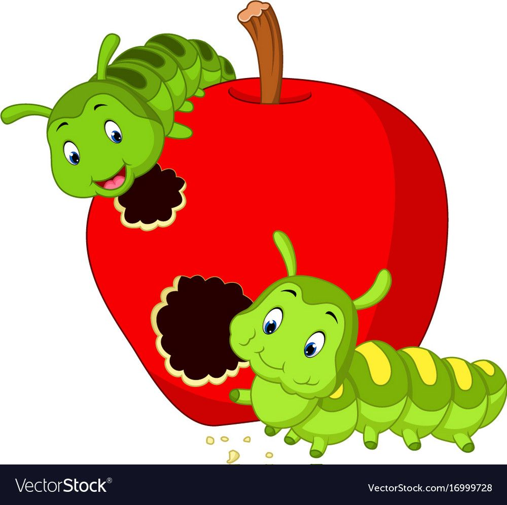 Illustration Of Caterpillars Eat The Apple Download A Free Preview Or High Quality Adobe Illustrat Apple Illustration Caterpillar Eating Girl Holding Balloons
