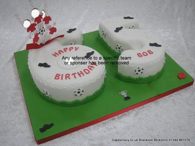 MUFC number cake Number 65 shaped birthday cake covered in white