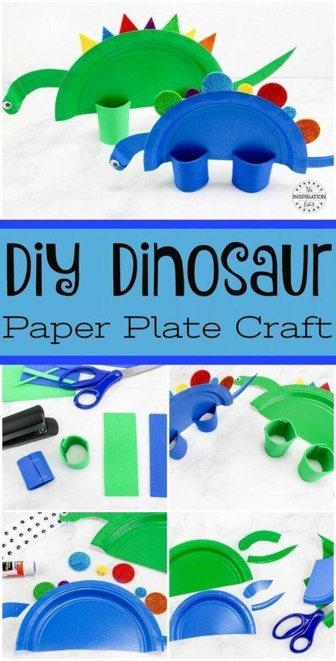 Super Cute Rainbow Dinosaur Paper Plate Craft