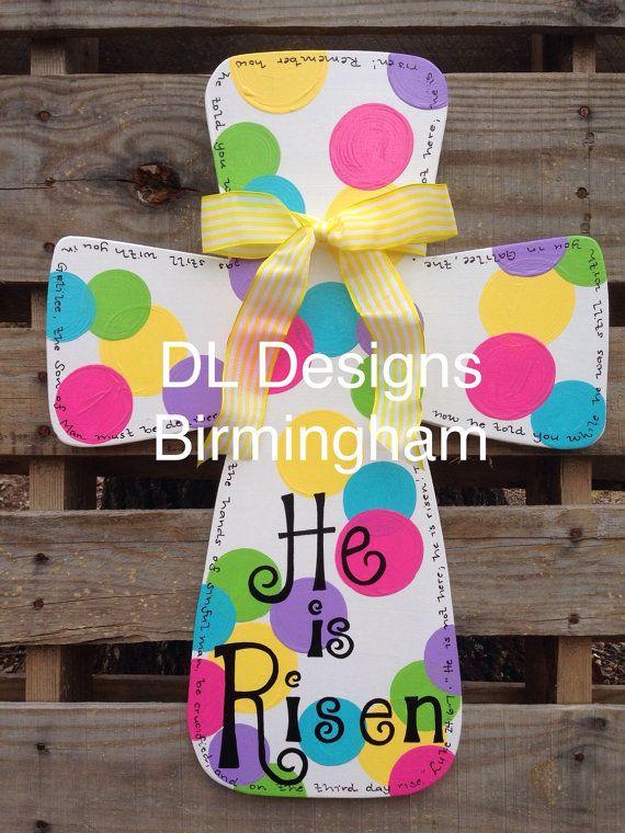 He is Risen Easter Cross Door hanger or by DLDesignsBirmingham & reserved listing for Julie Tomlinson by DLDesignsBirmingham | Door ... pezcame.com