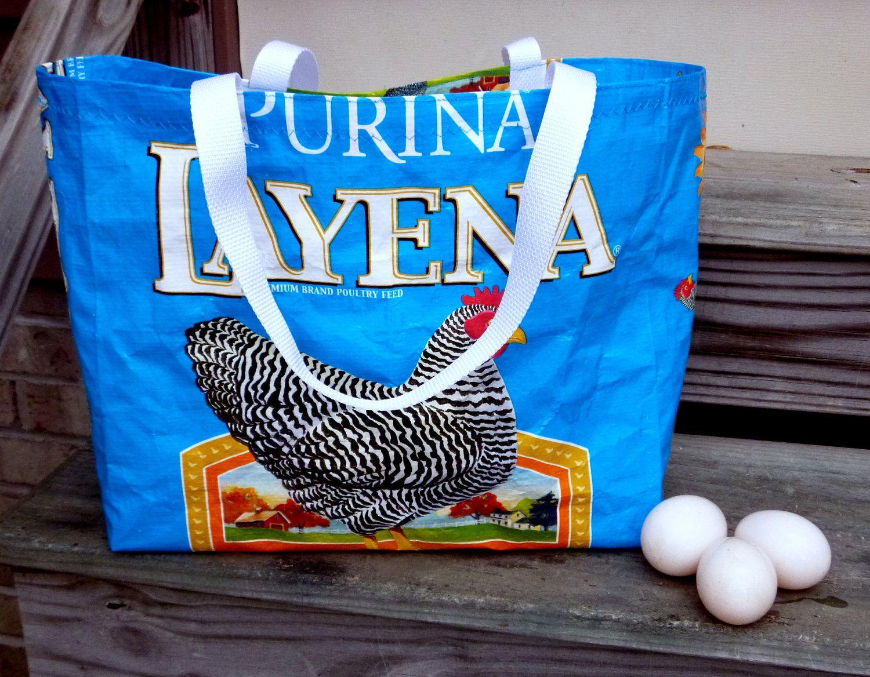 Handmade Layena Chicken Feed Upcycled Feed Bag Market Tote Shopping Bag. $14.00, via Etsy.