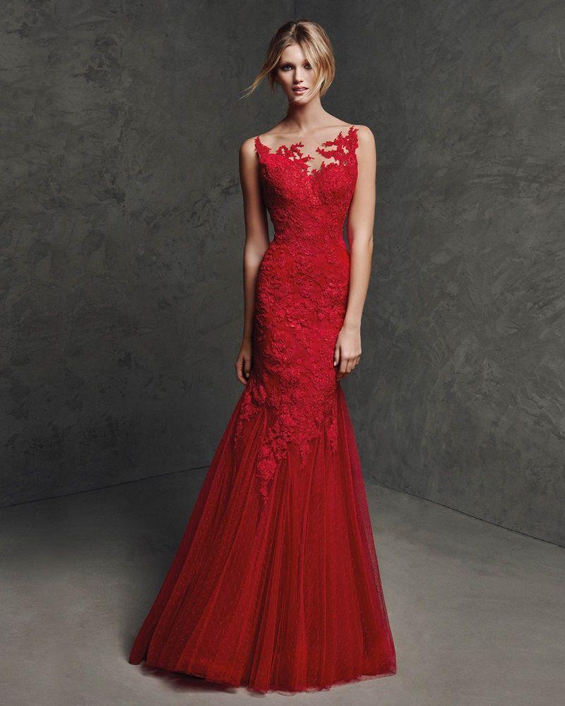 71843692a Pronovias Fiesta 2016   Red Mermaid Evening Dress