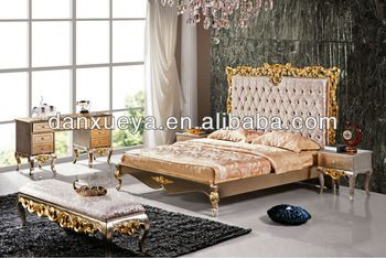 Luxury Solid Wood Carved Antique King Size Cheap Furniture Br001