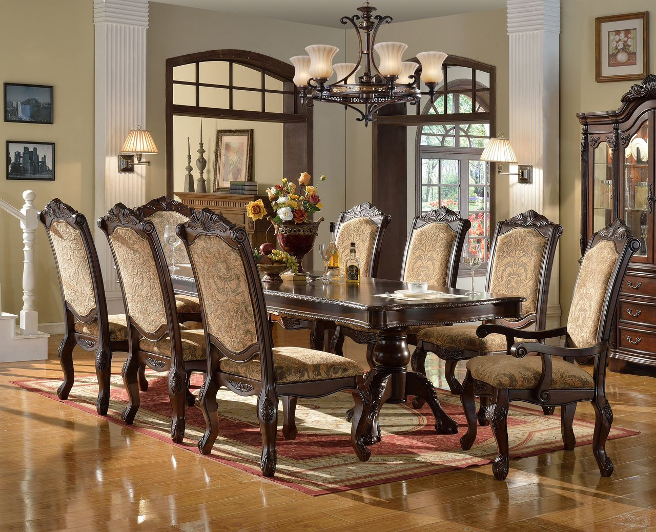 Palace 120 Cherry Oak Pearl Extendable 9 Pc Dining Table Set Formal Dining Tables Formal Dining Room Sets Dining Room Table Centerpieces