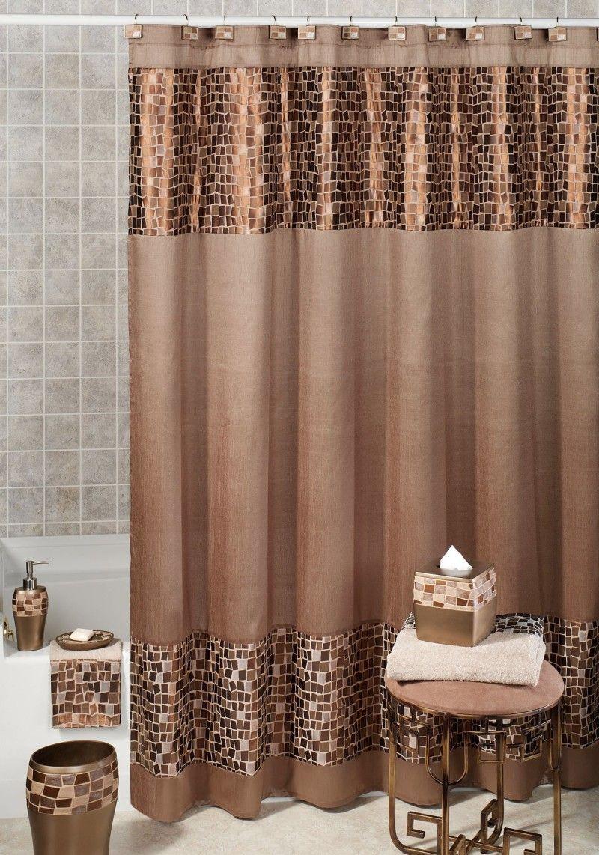 "Shower Curtain Mold and Mildew Free Waterproof Fabric Bathroom 72/""x72/"" Chocolate"