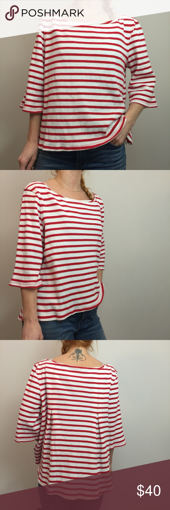 We The Free Red White Striped Thermal Top Clothes Design Red And White Stripes Fashion Design