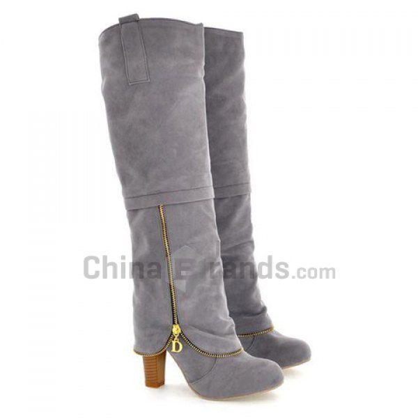 Elegant Suede and Zipper Design Women's Knee High Boots  USD $10.99