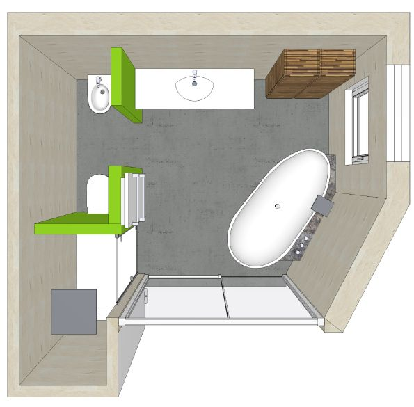 Badezimmer Planung Eines Badezimmers Mit Dusche In Der Nische Und  Verstecktem WC Bidet