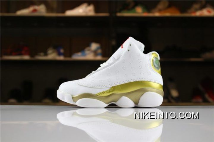 0ac0e82db860cf 2019 的 Kid s Air Jordan 13 DMP White Metallic Gold-Varsity Red New Style 主题