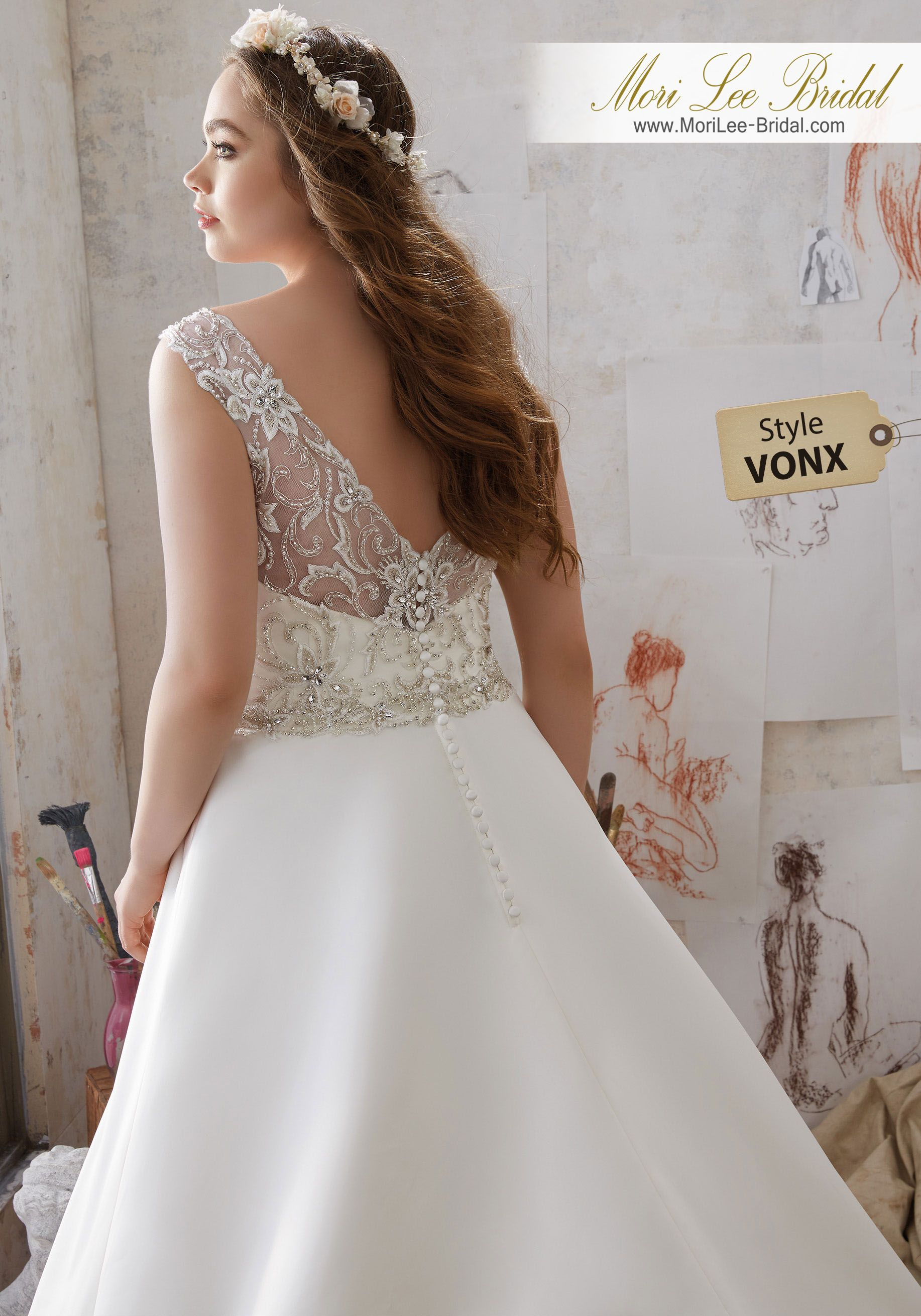 Style Vonx Merida Wedding Dress Simple And Elegant This Duchess Satin Aline Gown Accents The Natural Waist With Crystal Beaded Embroidery: Simple White Wedding Dress Bea At Websimilar.org